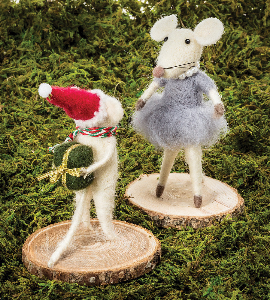 Mouse with Dress Felted Ornament