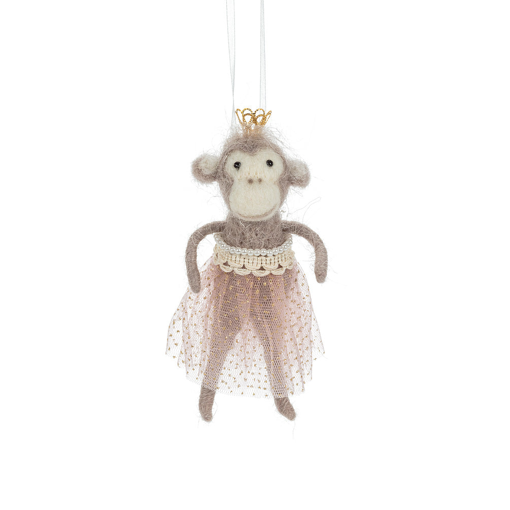 Ballerina Monkey with Crown Felted Ornament | Putti Celebrations Canada