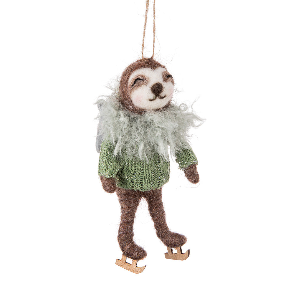 Skating Sloth Felted Ornament | Putti Christmas Canada