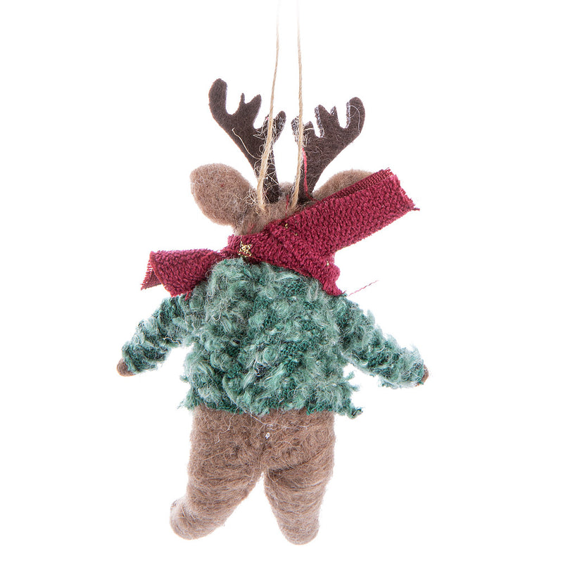Deer in Sweater Felt Ornament