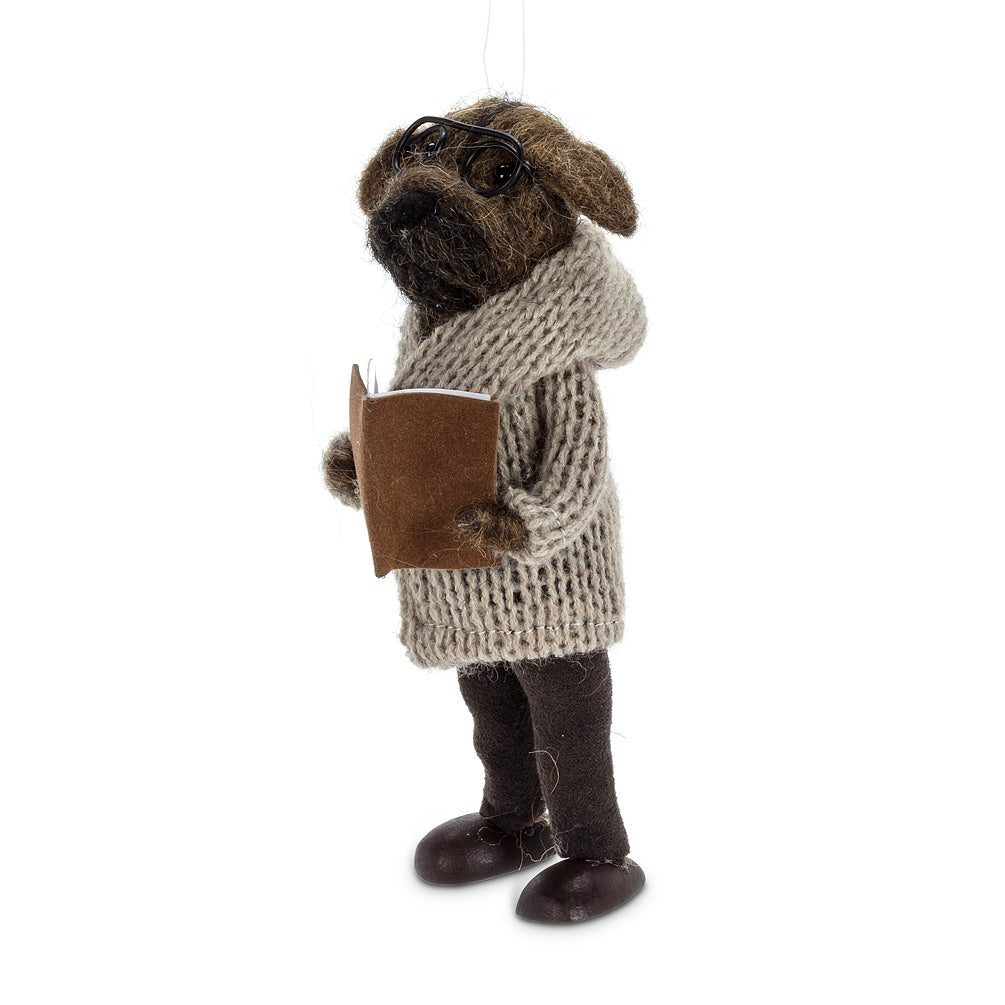 Dog in Cardigan with Book Felted Standing Ornament - Putti Christmas Canada