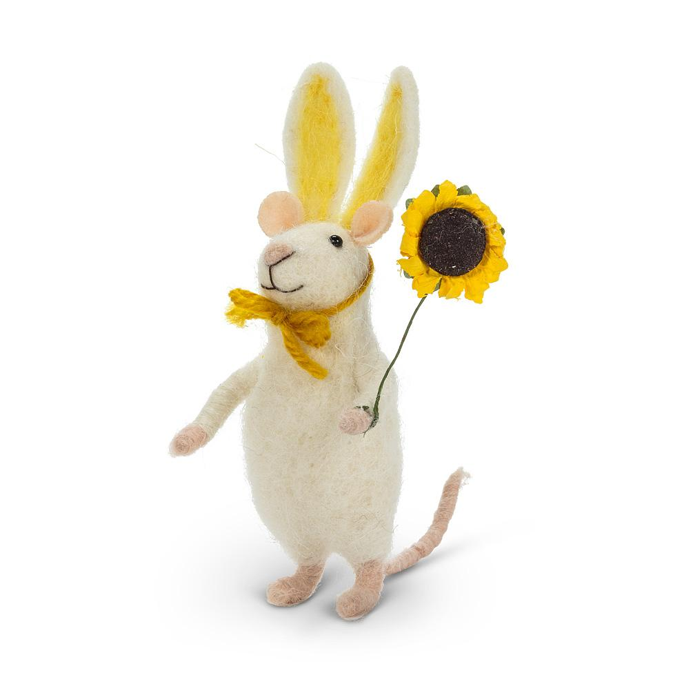 Mouse in Bunny Ears with Flower Felt Ornament | Putti Fine Furnishings