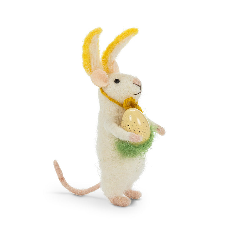 Mouse in Bunny Ears with Egg Felt Ornament | Putti Fine Furnishings