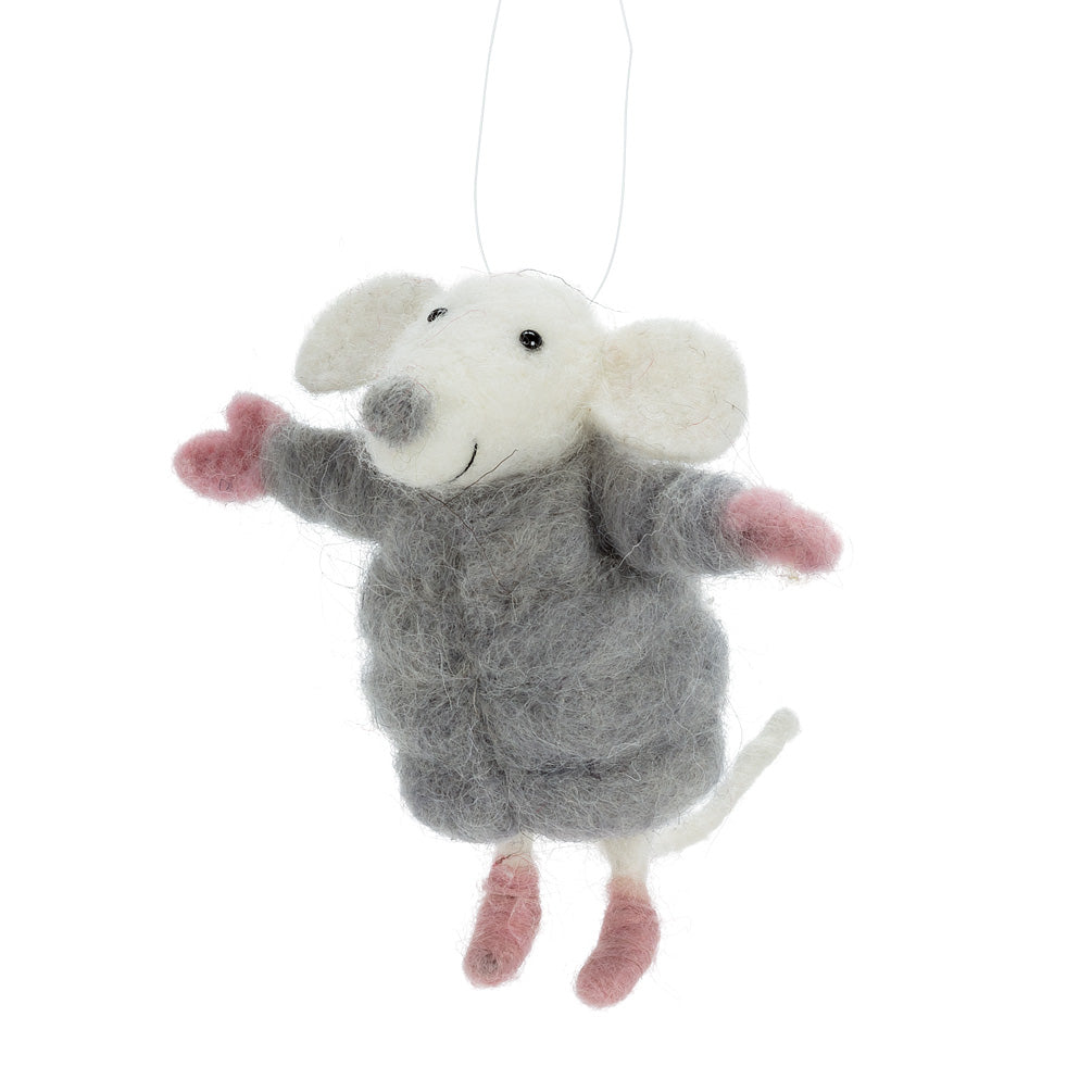 Mouse in Puffy Coat Felted Ornament  - Putti Christmas Canada