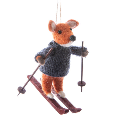 Fox on Skis Ornament Felt Ornament | Putti Celebrations Canada