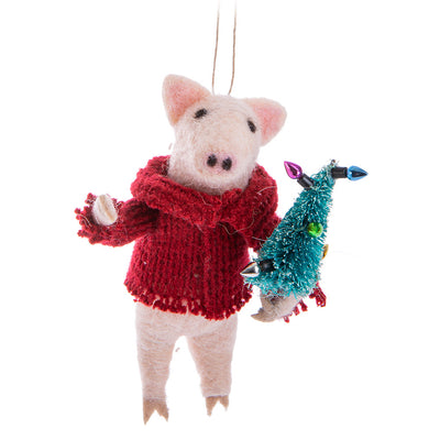 Pig with Tree Felt Ornament | Putti Celebrations Canada