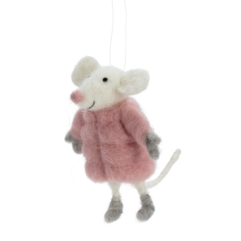 Mouse in Puffy Pink Coat Felted Ornament