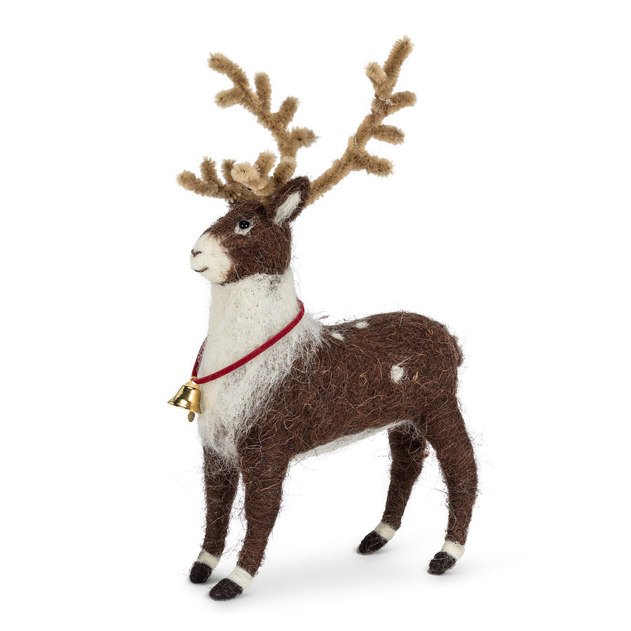 Standing Reindeer with Bell Felted Ornament
