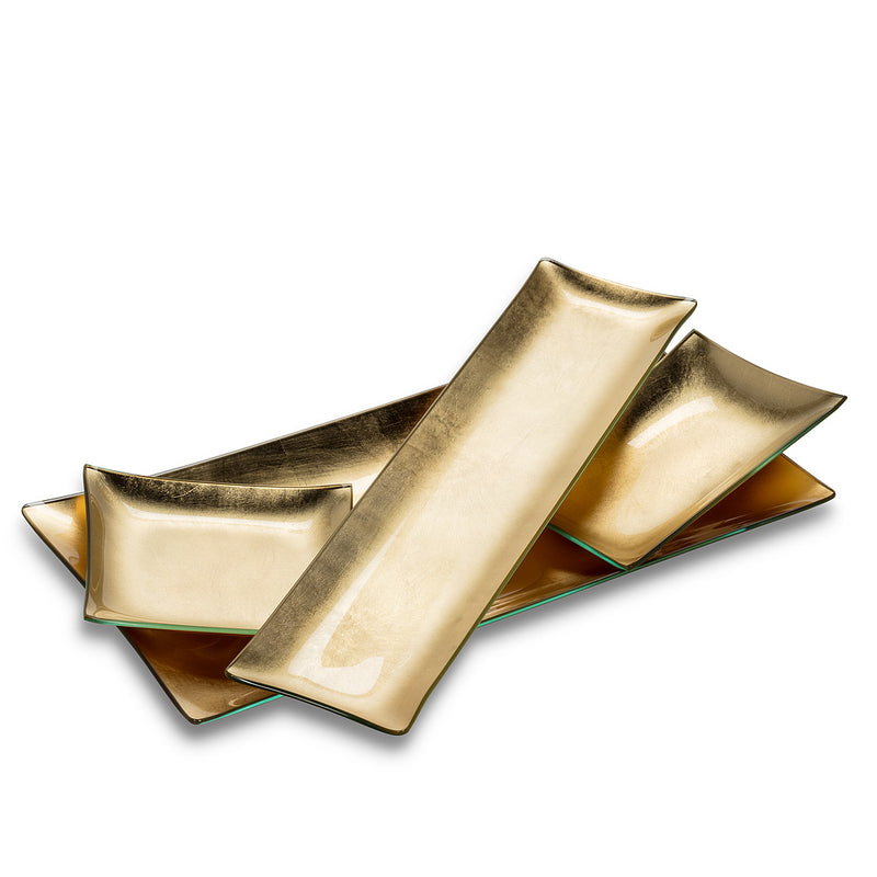 Long Slim Plate with Gold Foil - Putti Fine Furnishings Canada