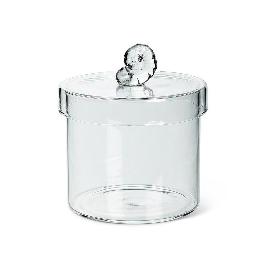 Shell Top Covered Glass Jar