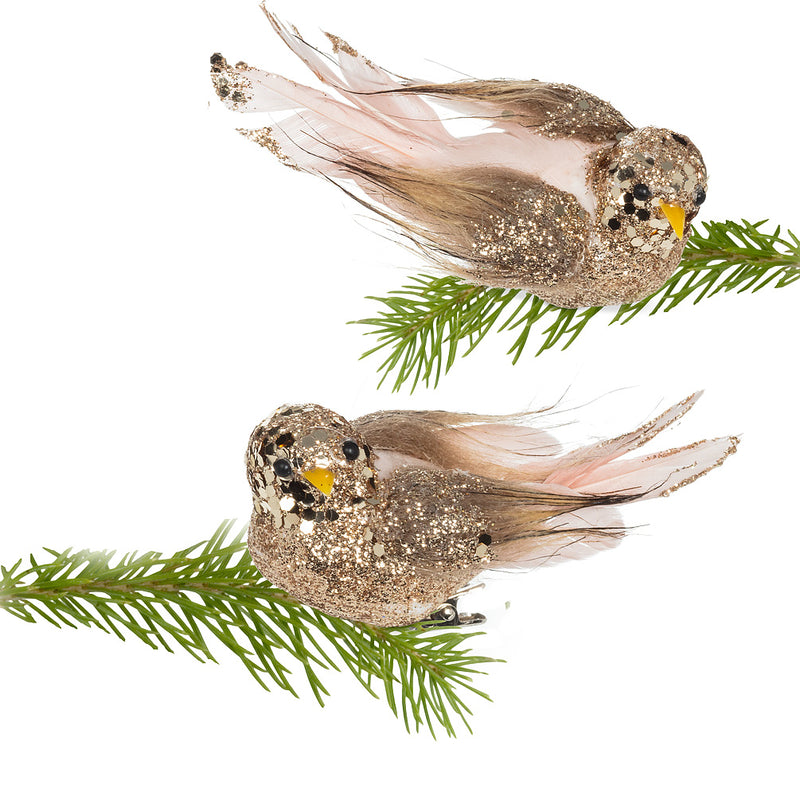 Pink and Gold Glittered Feather Bird Clip | Putti Christmas Celebrations