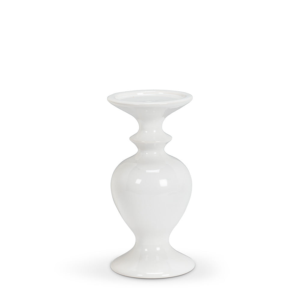 Small Shapely White Pillar Candle Holder | Putti Fine Furnishings