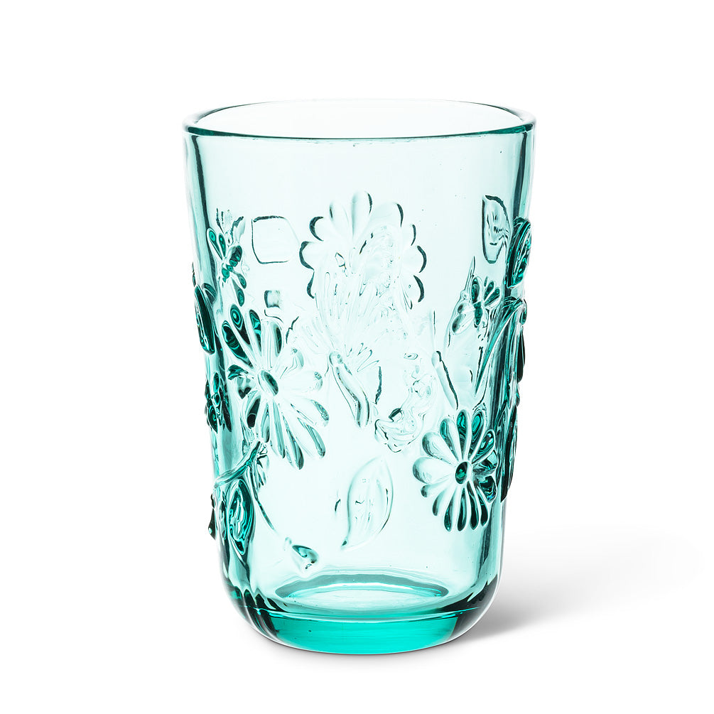 Aqua Butterfly and Flower Pattern Highball