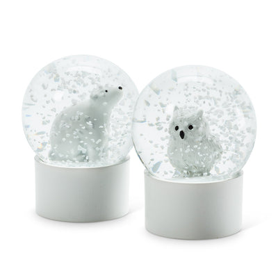 Mini White Owl Snow Globe
