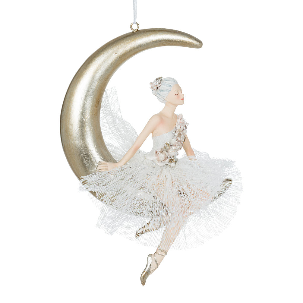 Ballerina on Moon Ornament | Putti Christmas Canada