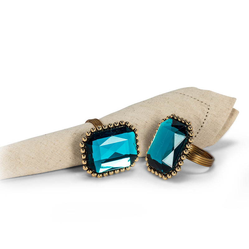 Turquoise Crystal Stone Napkin Ring - Putti Fine Furnishings Canada