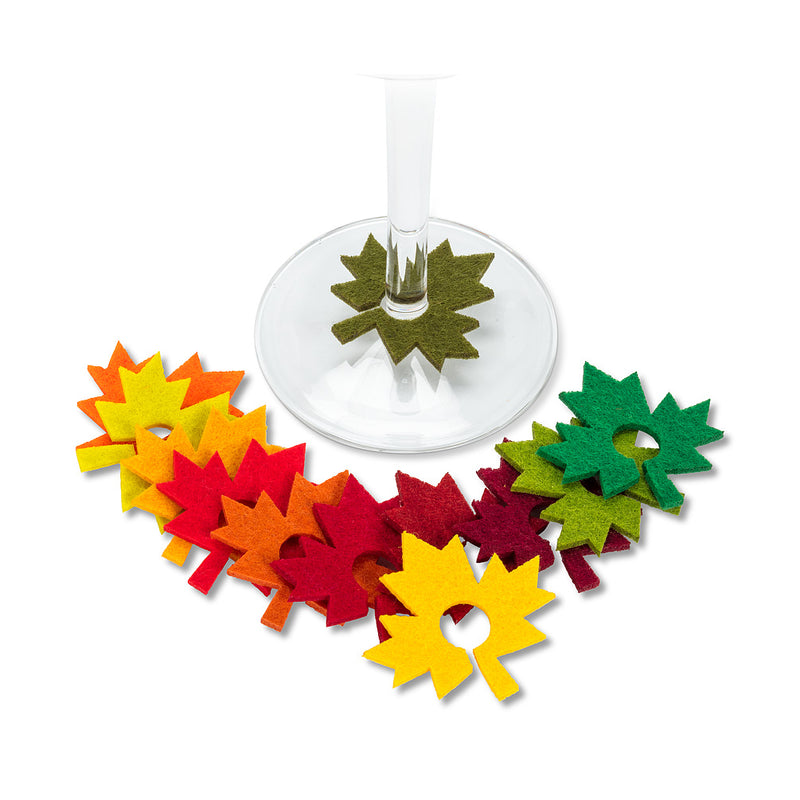 Mape Leaf Wine Charms - Set of 12