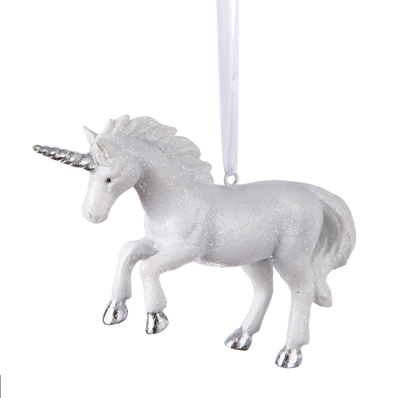 White Leaping Unicorn Ornament | Putti Christmas Canada