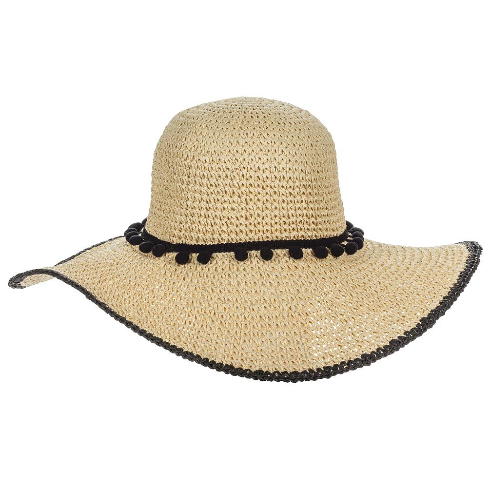 Enjoy your time in the sunshine by wearing this classic large-brimmed Sun Hat with Pom Pom Band & Trim. Made of woven paper with a unique band made of pom poms and matching trim, this highly durable hat means packing is never a problem. With its adjustable cotton band, it fits just about everyone!