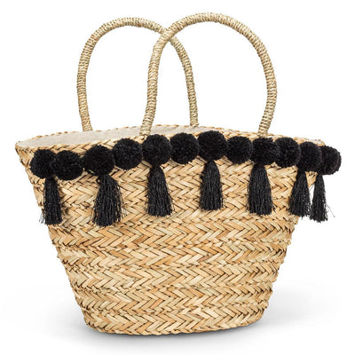 Seagrass Tote with Black Tassels and Pompoms | Putti Fine Fashions