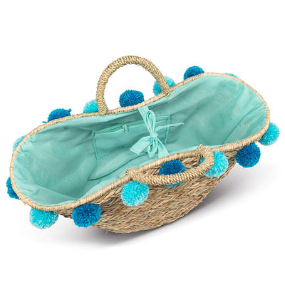 Seagrass Tote with Jumbo Turquoise Pompoms | Putti Fine Fashions