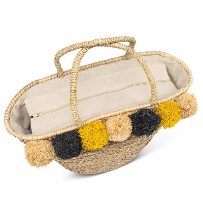 Seagrass Tote with Jumbo Pompoms | Putti Fine Fashions