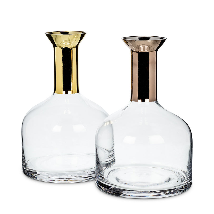 Large Wide Carafe with Metallic Top - Gold