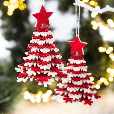 Layered Red Felt Tree Christmas Ornament | Putti Christmas Canada