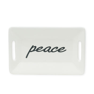 Small Peace Rectangle Dish | Putti Christmas Canada