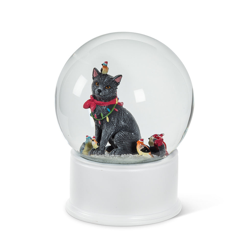 Large Cat with Birds Snow Globe | Putti Christmas Celebrations