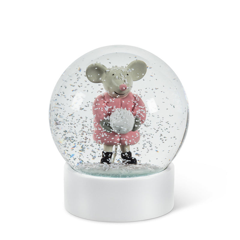 Medium Mouse with Snowball Snow Globe