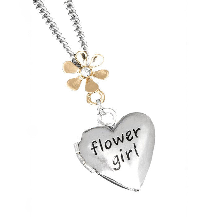 """Flower Girl"" Heart Locket Necklace, Putti Fine Furnishings, Putti Fine Furnishings"
