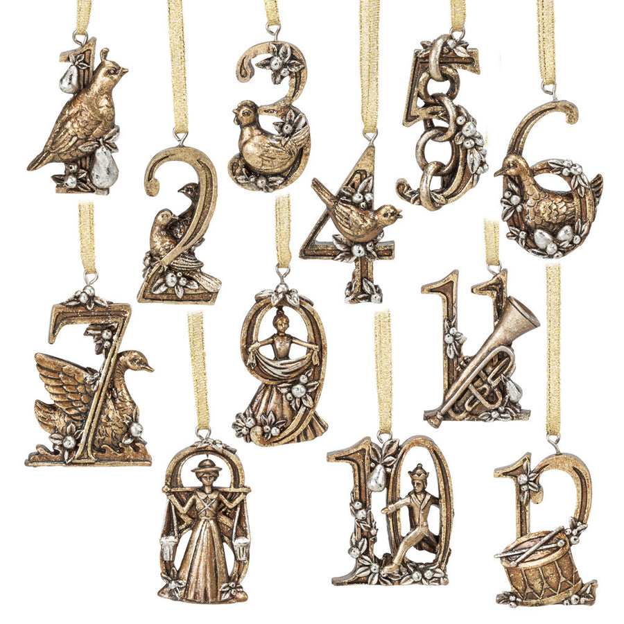 Set of 12 Days of Christmas Ornaments