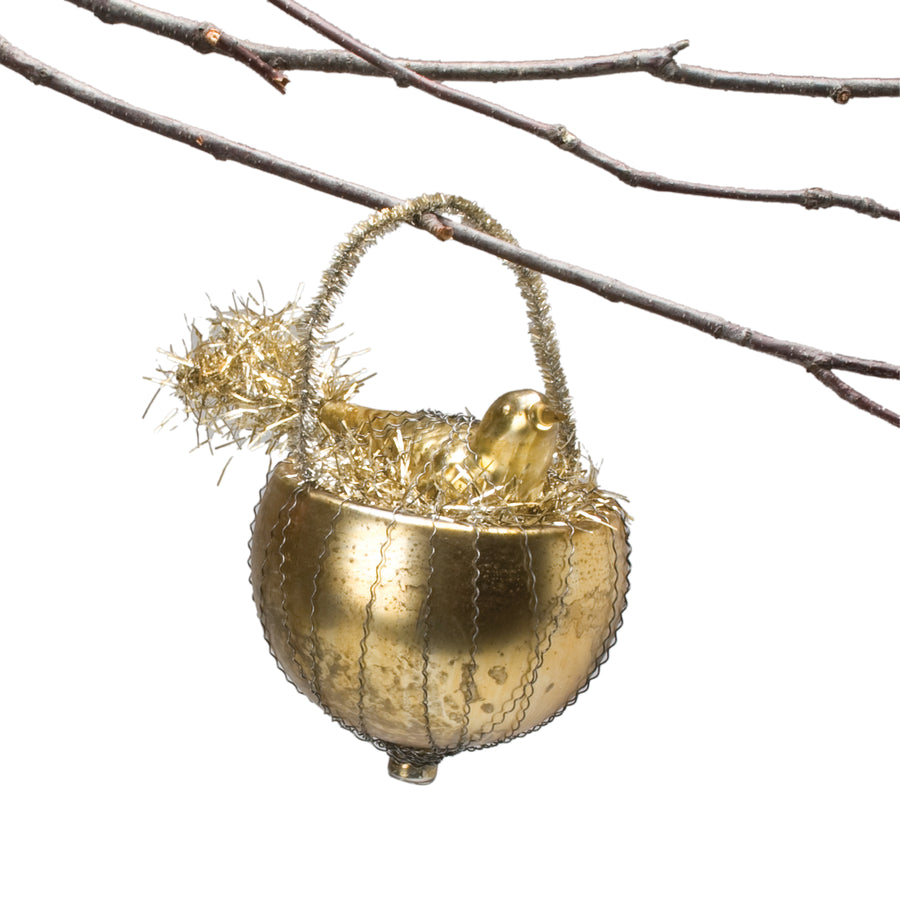 Gold Glass Bird in Nest Ornament