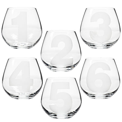 Etched Number Stemless Goblet -  Glassware - AC-Abbott Collection - Putti Fine Furnishings Toronto Canada - 1
