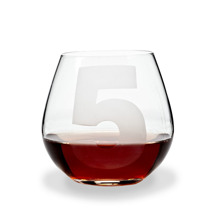 Etched Number Stemless Goblet