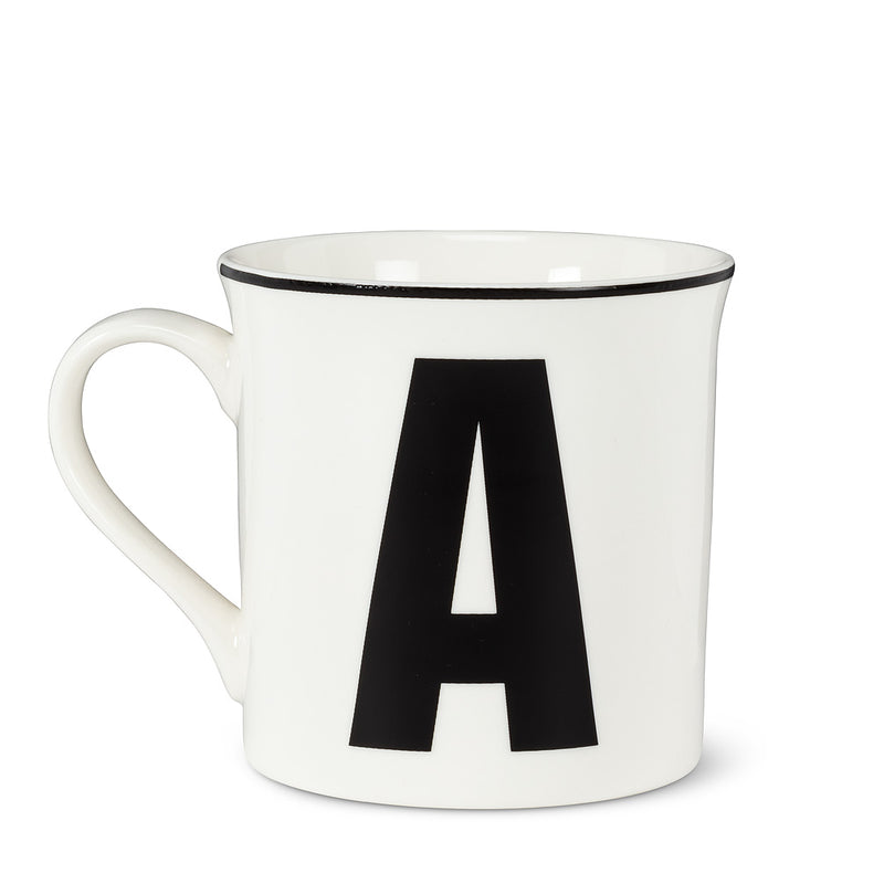 Graphic Letter Mug - Initial A, AC-Abbott Collection, Putti Fine Furnishings