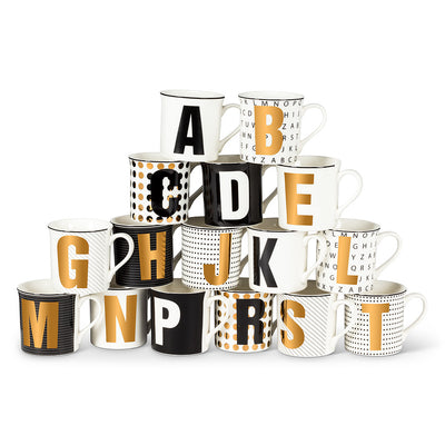 Graphic Letter Mug - Initial H, AC-Abbott Collection, Putti Fine Furnishings