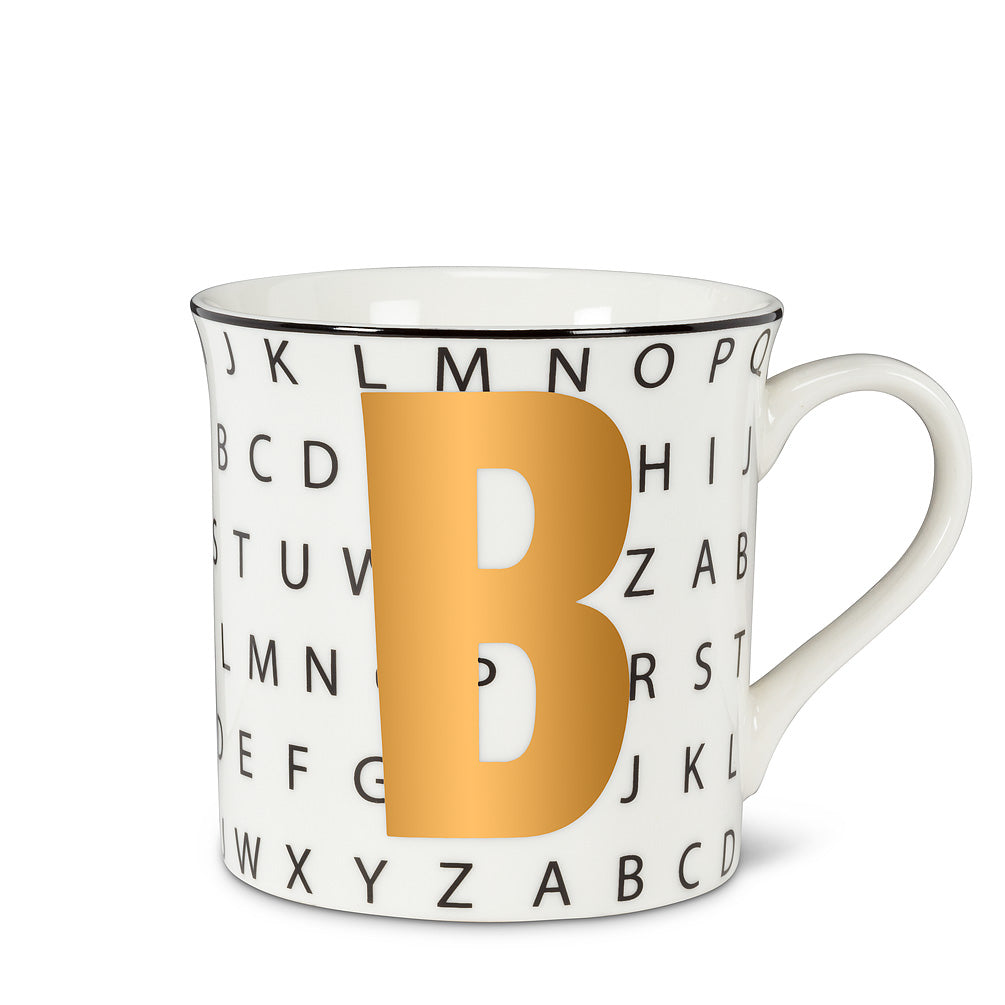 Graphic Letter Mug - Initial B, AC-Abbott Collection, Putti Fine Furnishings