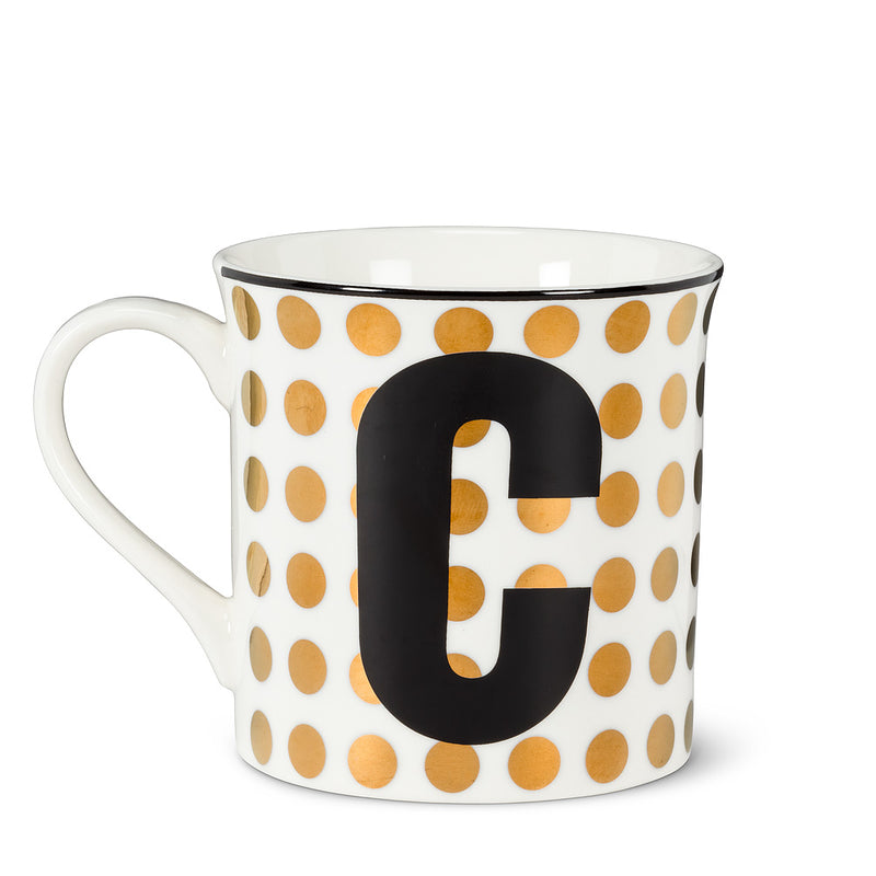 Graphic Letter Mug - Initial C, AC-Abbott Collection, Putti Fine Furnishings