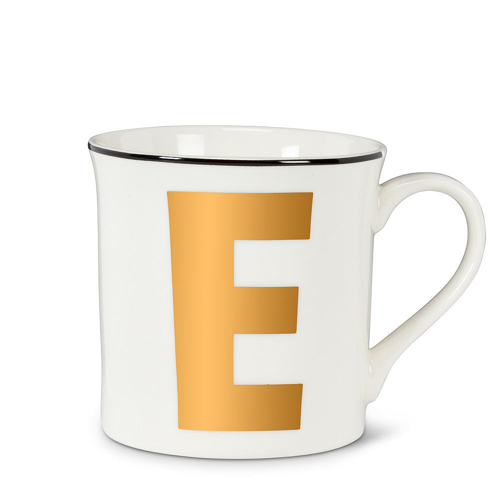 Graphic Letter Mug - Initial E, AC-Abbott Collection, Putti Fine Furnishings