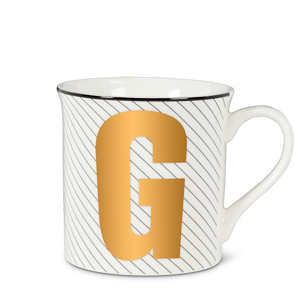 Graphic Letter Mug - Initial G, AC-Abbott Collection, Putti Fine Furnishings