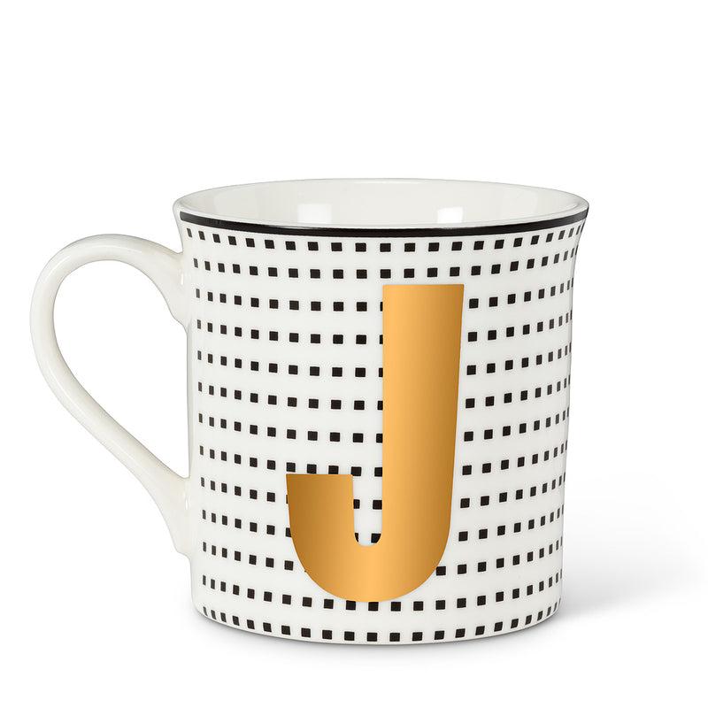 Graphic Letter Mug - Initial J, AC-Abbott Collection, Putti Fine Furnishings