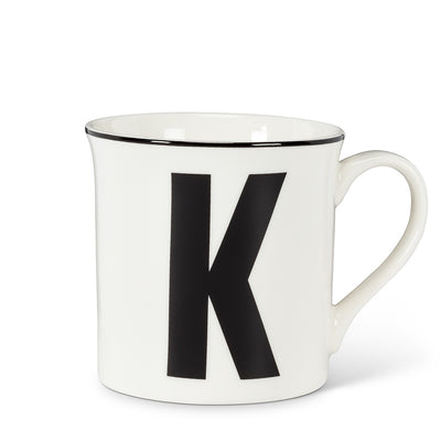 Graphic Letter Mug - Initial K, AC-Abbott Collection, Putti Fine Furnishings