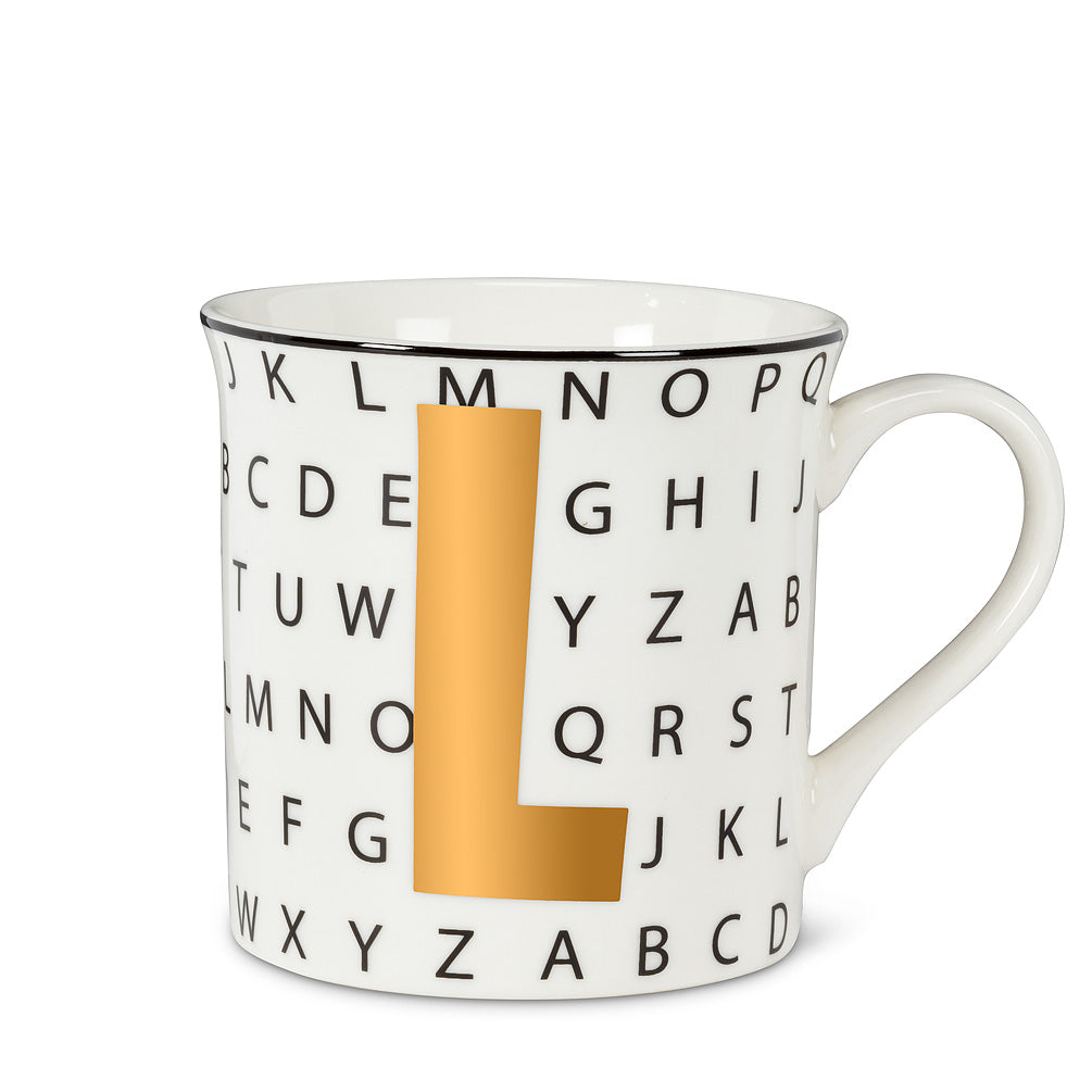 Graphic Letter Mug - Initial L, AC-Abbott Collection, Putti Fine Furnishings
