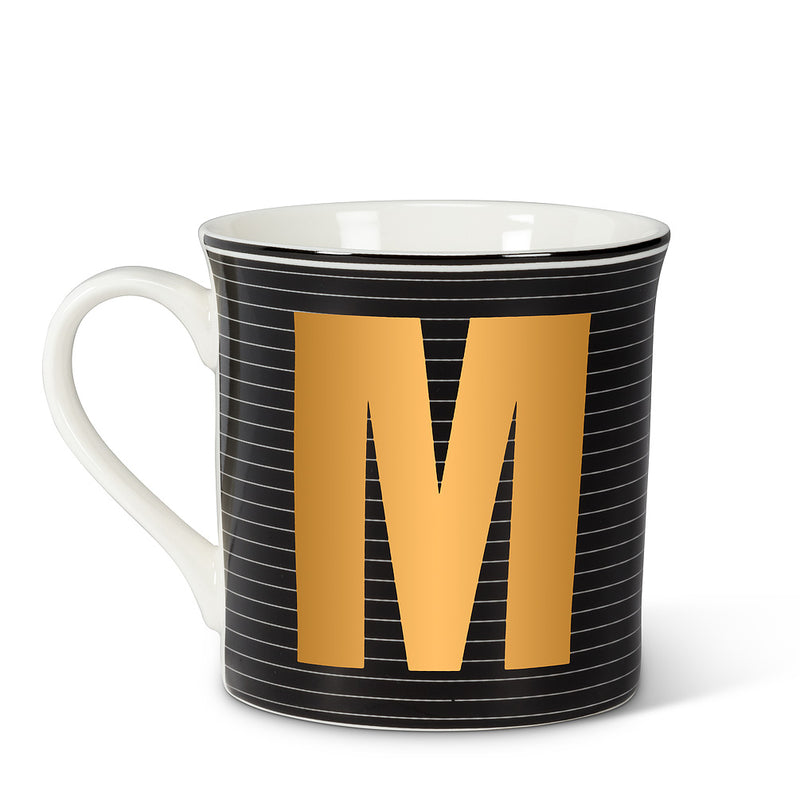 Graphic Letter Mug - Initial M, AC-Abbott Collection, Putti Fine Furnishings