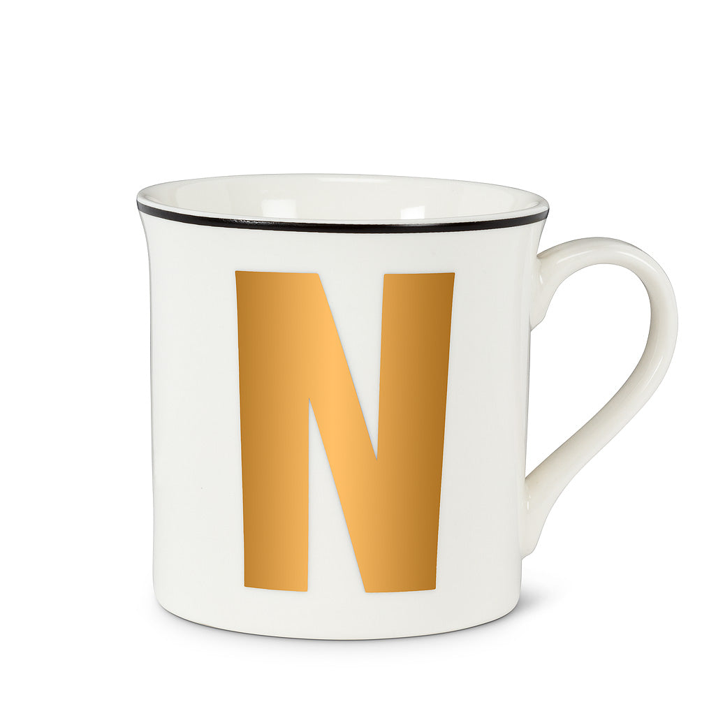 Graphic Letter Mug - Initial N, AC-Abbott Collection, Putti Fine Furnishings