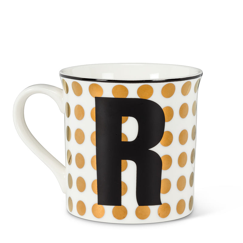 Graphic Letter Mug - Initial R, AC-Abbott Collection, Putti Fine Furnishings