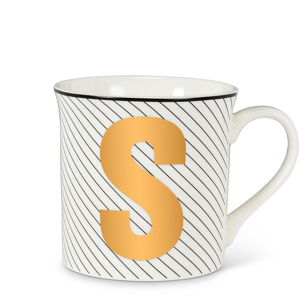 Graphic Letter Mug - Initial S, AC-Abbott Collection, Putti Fine Furnishings