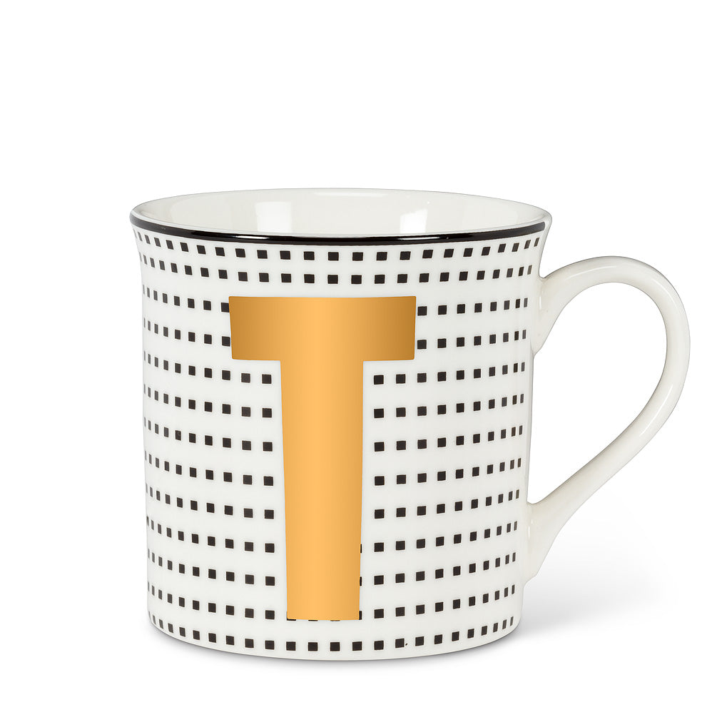 Graphic Letter Mug - Initial T, AC-Abbott Collection, Putti Fine Furnishings